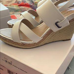 White Alfani wedge sandals.